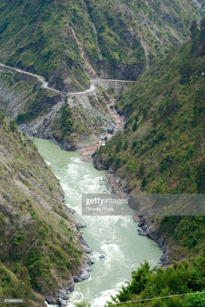Chenab river, hill Jammu Srinagar road, Jammu & Kashmir, India, Asia : Stock Photo