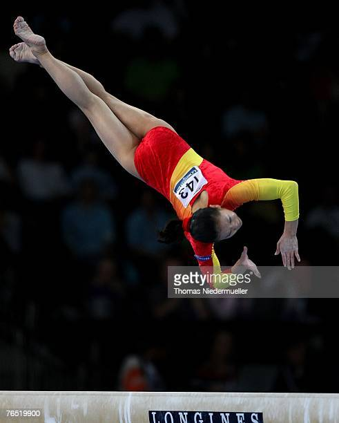 Cheng Fei of China performs on the beam during the woman's team final of the 40th World Artistic Gymnastics Championships on September 5 2007 at the...