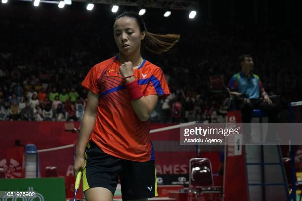 Cheng Hefang of China celebrates a victory on the women's single SL4 final match at Istora Gelora Bung Karno in Jakarta Indonesia on October 12 2018...