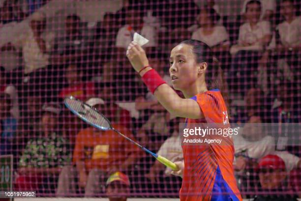 Cheng Hefang of China in action against Oktila Leani Ratri of Indonesia during the women's single SL4 final match at Istora Gelora Bung Karno in...