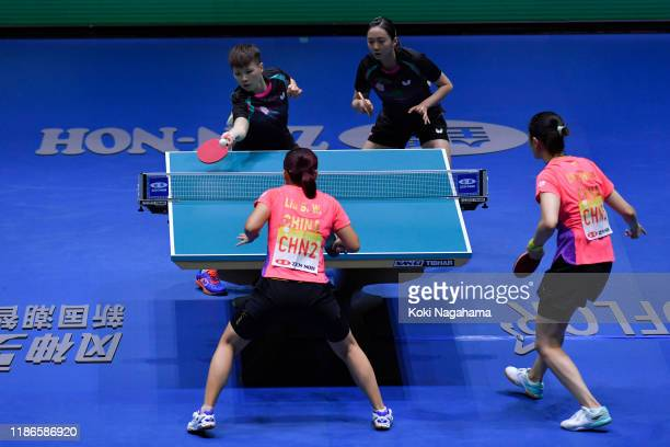 Cheng HsienTzu and Chen SzuYu of Chinese Taipe compete against Liu Shiwen and Ding Ning of China during Women's Teams singles Semifinals doubles...
