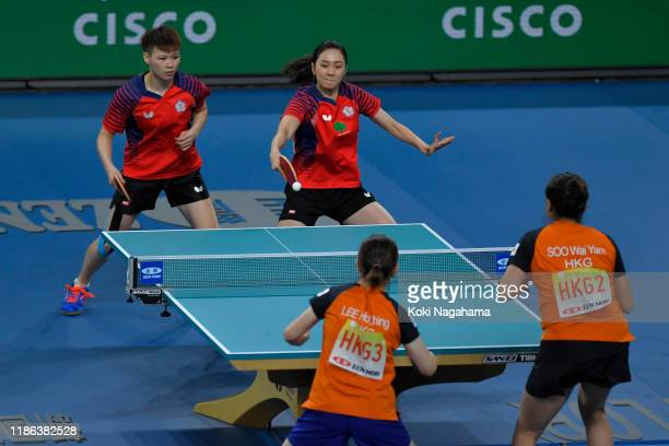 Cheng HsienTzu and Chen SzuYu of Chinese Taipei competes against Lee Ho Ching and Soo Wai Yam Minnie of Hong Kong China during Women's Teams singles...