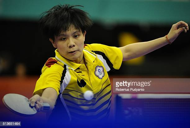 Cheng I Ching of Chinese Taipei competes against Tie Yana of Hong Kong during the 2016 World Table Tennis Championship Women's Team Division...