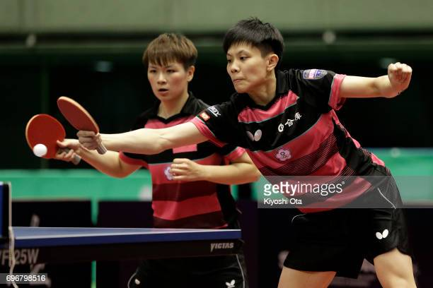 Cheng IChing and Chen SzuYu of Taiwan compete in the Women's Doubles semi final match against Jeon Jihee and Yang Haeun of South Korea during day...