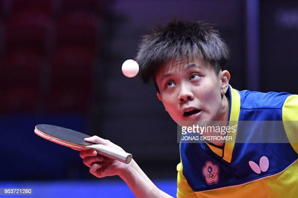 Cheng IChing of Chinese Taipei serves the ball during her match against Soo W Y Minnie of Hong Kong in their Round of 16 match Chinese Taipei vs Hong...