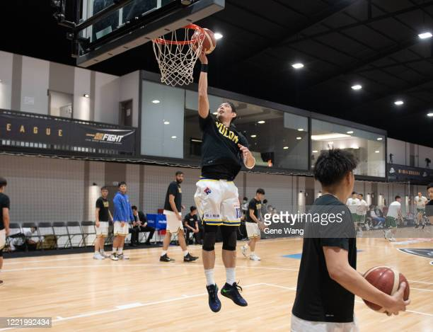 Cheng Ju Lu of Yulon Luxgen Dinos practice prior to the SBL Finals Game Six between Taiwan Beer and Yulon Luxgen Dinos at Hao Yu Trainning Center on...