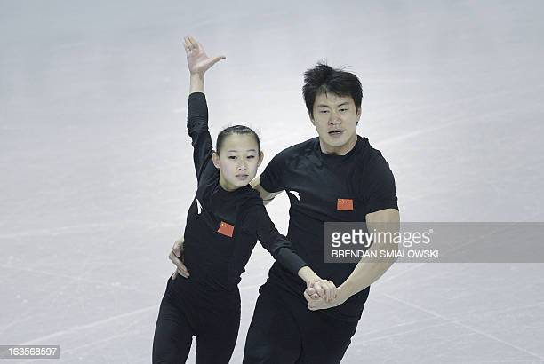 Cheng Peng and Hao Zhang competing for China practice at Budweiser Gardens in preparation for the 2013 World Figure Skating Championships in London,...