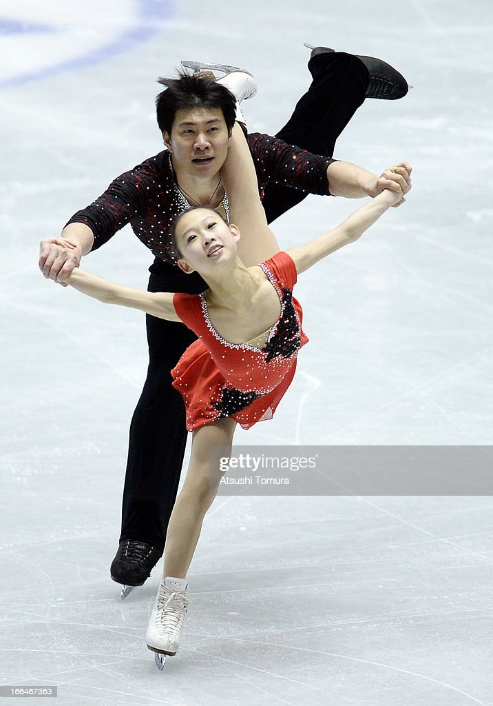 Cheng Peng and Hao Zhang of China compete in the pairs free skating during day three of the ISU World Team Trophy at Yoyogi National Gymnasium on April 13, 2013 in Tokyo, Japan.