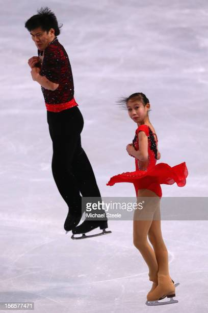 Cheng Peng and Hao Zhang of China during the Pairs Free Skating Program on day two of the ISU Grand Prix of Figure Skating Trophee Eric Bompard at...