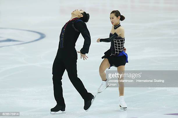 Cheng Peng and Yang Jin of China compete during Senior Pairs Short Program on day one of the ISU Junior and Senior Grand Prix of Figure Skating Final...