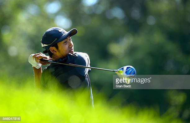 Cheng Tsung Pan hits a drive on the 18th hole during the final round of the Webcom Tour LECOM Health Challenge at Peek'n Peak Rst Upper Course on...