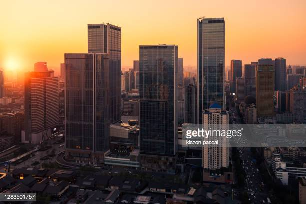 chengdu city center in sichuan province of china during sunset . - golden hour stock pictures, royalty-free photos & images