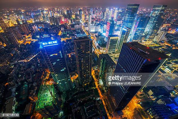 Chengdu downtown skyline wide angle view at night