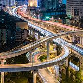 Chengdu interchange at night square format