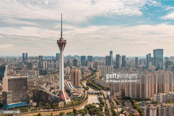 chengdu skyline aerial view - 成都 ストックフォトと画像