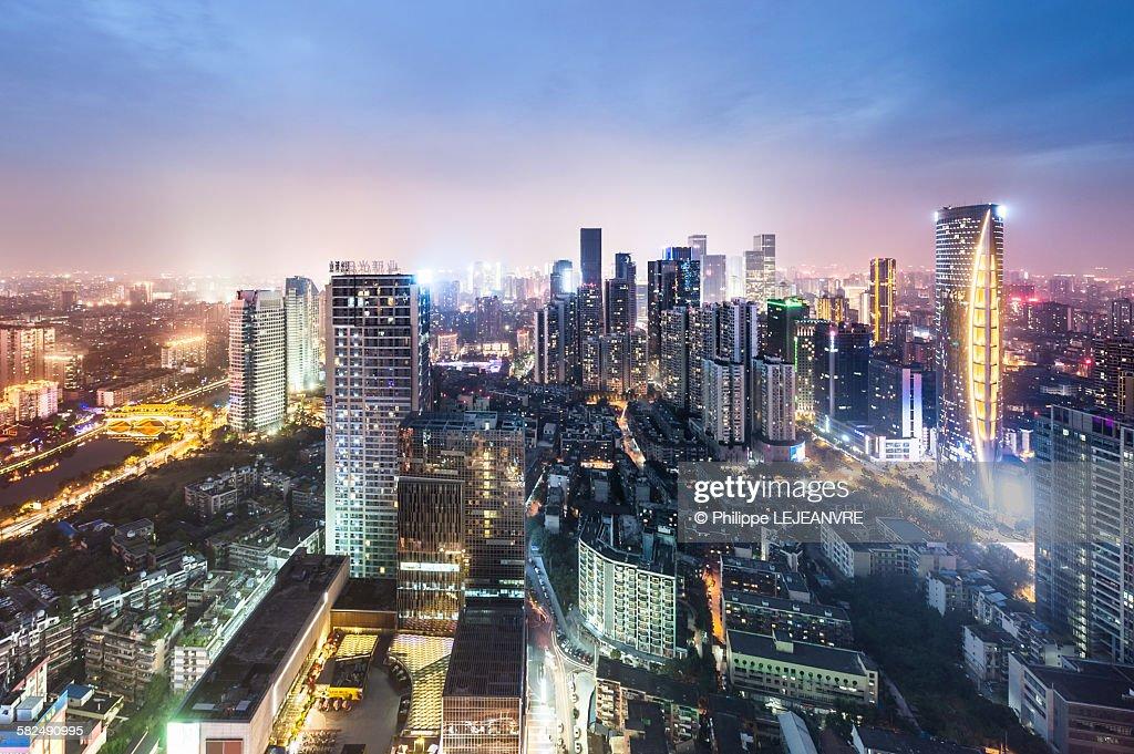 Chengdu skyline aerial view : ストックフォト