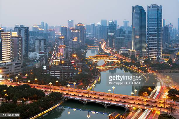 Chengdu skyline at dusk