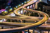 Chengdu - Yimenkou interchange at night aerial view