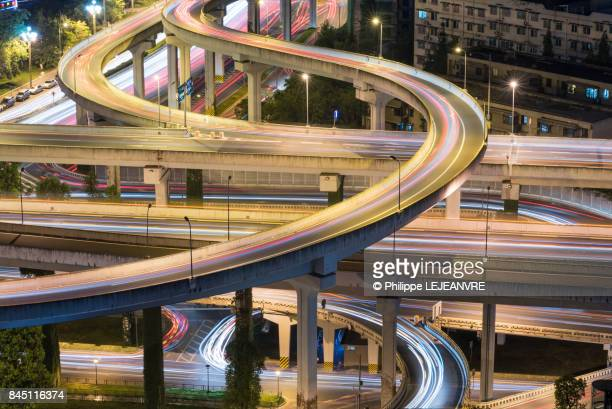 chengdu - yingmenkou interchange at night aerial view - china east asia stock photos and pictures