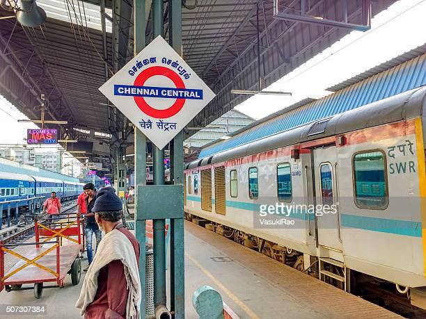 chennai central railway station signage, india - chennai stock pictures, royalty-free photos & images