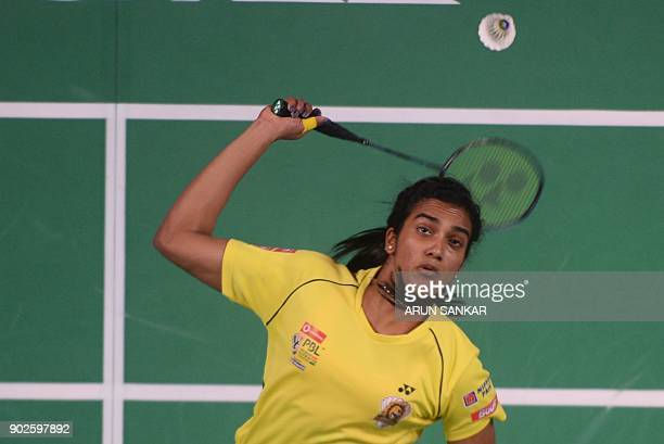 Chennai Smashers player P V Sinddu of India plays a shot against Bengaluru Blasters player Kristy Gilmour of Scotland during their Vodafone Premier...