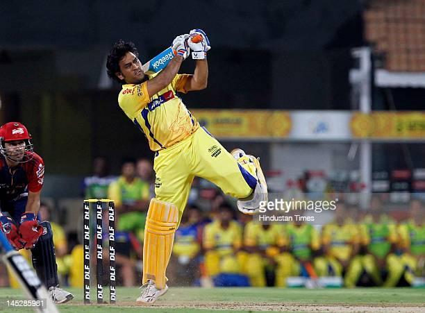 Chennai Super King batsman Mahendra Singh Dhoni plays a shot during the IPL Qualifier 2 match between Delhi Daredevils and Chennai Super Kings at MA...