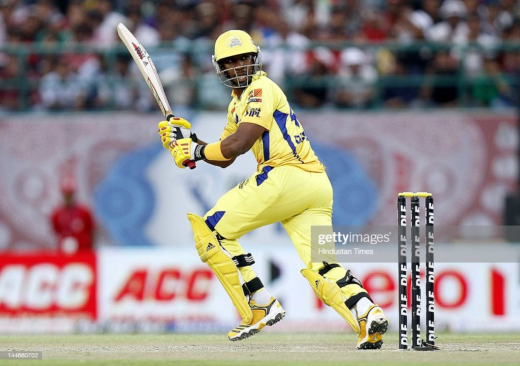 Chennai Super Kings batsman Dwayne Bravo plays a shot during IPL Twenty 20 cricket match between Kings XI Punjab and Chennai Super Kings at HPCA stadium on May 17, 2012 in Dharamshala, India. Chasing 120 runs made by Chennai Super Kings, Kings XI Punjab won the match by 6 wickets.