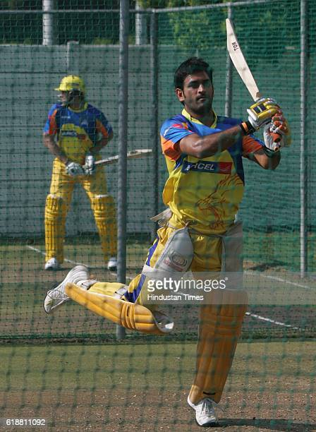 IPL2 Chennai Super King's captain MS Dhoni bats during the team's practice session at Ballville Cape Town