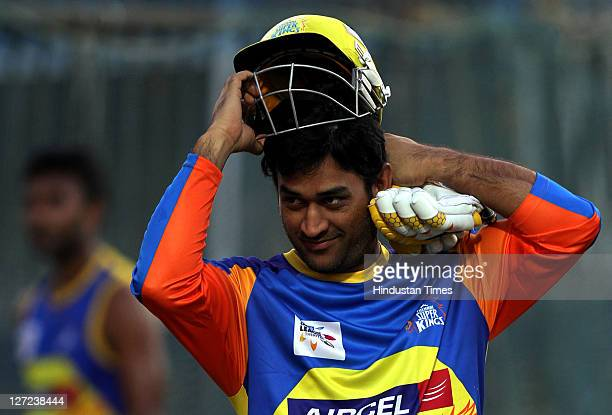 Chennai Super Kings captain MS Dhoni during a practise session at M A Chidambaram Stadium in Chennai India on September 23 2011