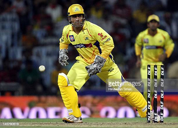 Chennai Super Kings captain MS Dhoni in action during the IPL Qualifier 2 match against Delhi Daredevils at MA Chidambaram stadium on May 25 2012 in...
