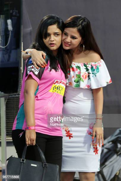 Chennai Super Kings captain MS Dhoni' wife Sakshi with Rajasthan Royals captain Ajinkya Rahane's wife Radhika during the IPL T20 match at Sawai...