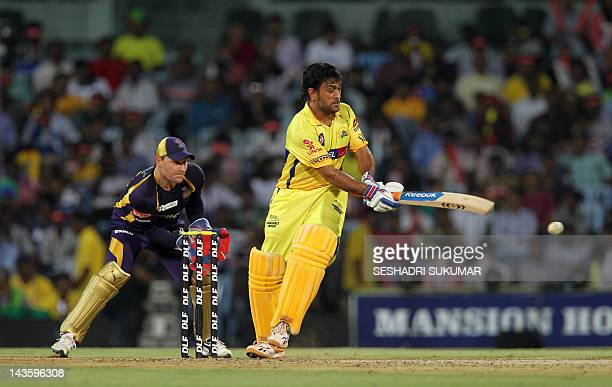 Chennai Super Kings captain Mahendra Singh Dhoni plays a shot during the IPL Twenty20 cricket match between Chennai Super Kings and Kolkata Knight...