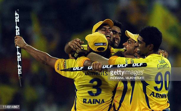 Chennai Super Kings cricketers celebrate after winning the IPL Twenty20 cricket final match between Chennai Super Kings and Royal Challengers...