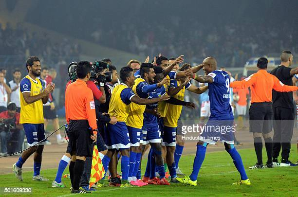 Chennaiyin FC player Fikru celebrates with teammates after scoring against Atletico de Kolkata during their ISL semifinal second leg match at Yuva...