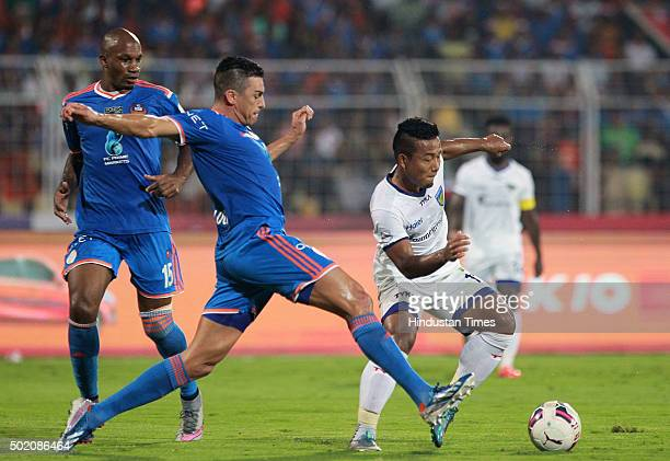 Chennaiyin FC player Jeje Lalpekhlua vying for ball with FC Goa player Lucio during ISL Final match at Jawaharlal Nehru Stadium on December 20 2015...