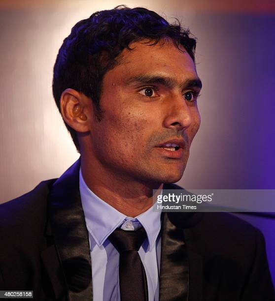 Chennaiyin FC player Karanjit Singh during a press conference after the auction and draft of Indian Super League on July 10 2015 in Mumbai India