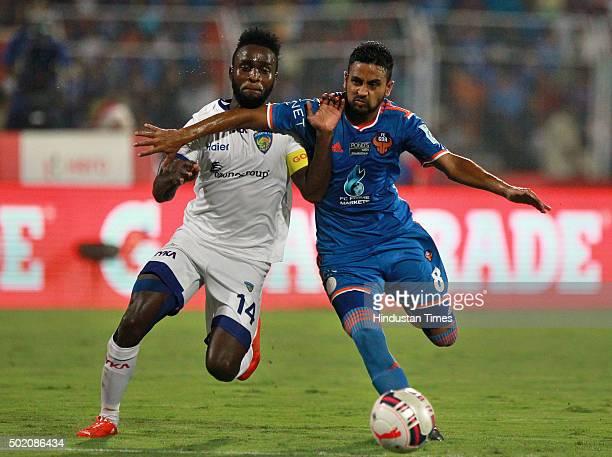 Chennaiyin FC player Stiven Mendoza and FC Goa player Bikramjit Singh during ISL Final match at Jawaharlal Nehru Stadium on December 20 2015 in...