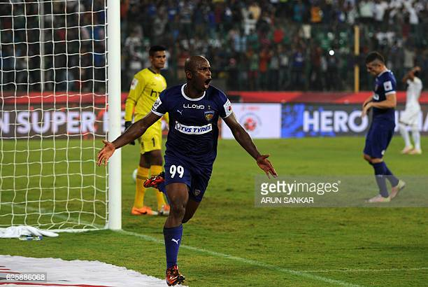 Chennaiyin FC's forward Dudu Omagbemi celebrates after scoring a goal against NorthEast United FC during the Indian Super League football match...