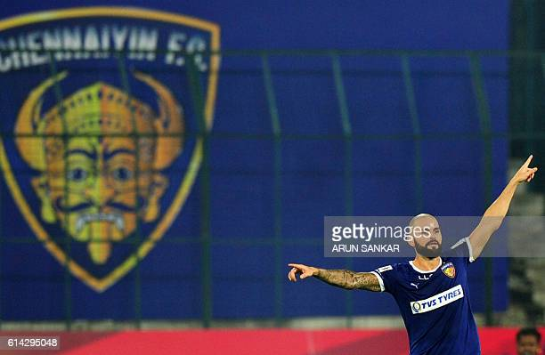 Chennaiyin FC's Hans Mulder celebrates after scoring a goal against FC Goa during the Indian Super League football match between Chennaiyin FC and FC...