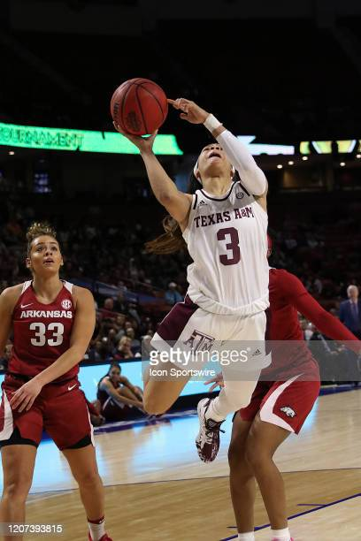 Chennedy Carter of Texas AM during the SEC Women's College basketball tournament game between the Arkansas Razorbacks and the Texas AM Aggies on...