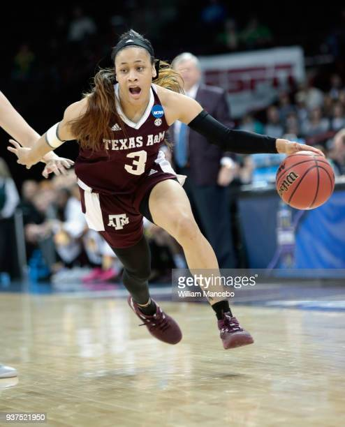 Chennedy Carter of the Texas AM Aggies drives against the Notre Dame Fighting Irish during the 2018 NCAA Division 1 Women's Basketball Tournament at...