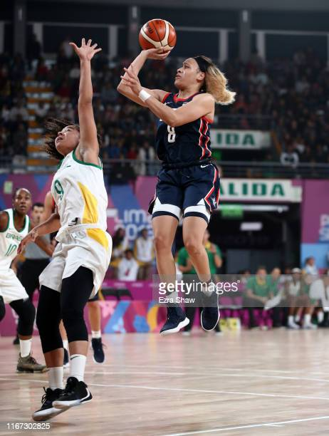 Chennedy Carter of the United States shoots over Lays Da Silva of Brazil in their gold medal women's basketball game on Day 15 of Lima 2019 Pan...