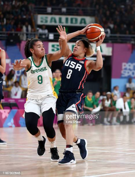 Chennedy Carter of the United States sis guarded by Lays Da Silva of Brazil in their gold medal women's basketball game on Day 15 of Lima 2019 Pan...