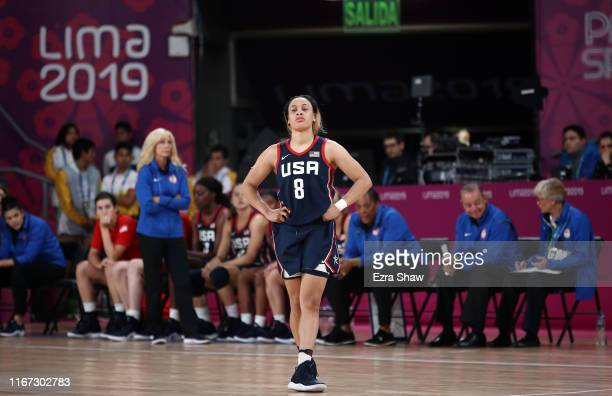 Chennedy Carter of the United States stands on the court in the final minute of their loss to Brazil in the gold medal women's basketball game on Day...