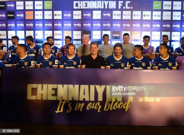 Chenniayin FC's head coach John Gregory pose along with team during an introduction event ahead of 2017 edition of the Indian Super League in Chennai...