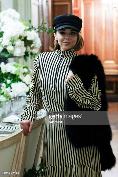 Chenoa during fashion week ATELIER COUTURE fashionable bridal and luxury in ceremony at the Fernan Nunez Palace in Madrid March 15 2018