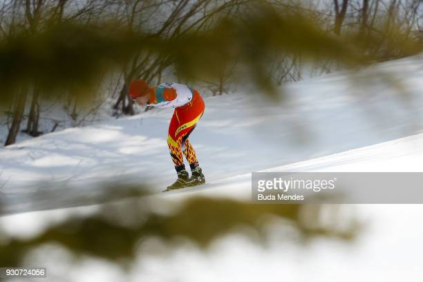Chenyang Wang of China competes in the Men's Cross Country 20km Free Standing event at Alpensia Biathlon Centre during day two of the PyeongChang...