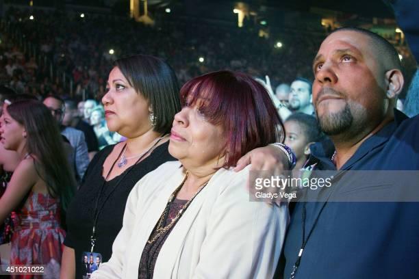 Cheo Feliciano's daughter Michelle Feliciano Cheo Feliciano's widow Coco Feliciano and Cheo Feliciano's son Jose Luis Feliciano attend Dos Soneros...
