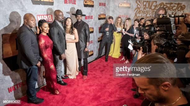 Cheo Hodari Coker Simone Missick Mike Colter Rosario Dawson and Mustafa Shakir attend the 'Luke Cage' Season 2 premiere at The Edison Ballroom on...