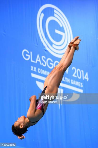 Cheong Jun Hoong of Malaysia competes in the Women's 1m Springboard Final at Royal Commonwealth Pool during day nine of the Glasgow 2014 Commonwealth...